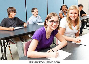 seis, escolares, en la clase