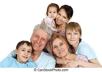 seis, família caucasiana, feliz
