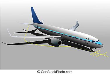 seis, ilustração, silhuetas, vetorial, avião, desenhistas
