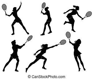 seis, jugadores del tenis, siluetas