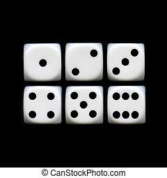 seis, lados, de, un, dados