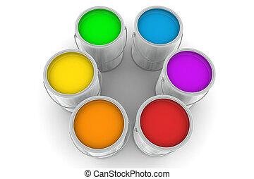 seis, lata pintura, degradação de cor (color switch) (br)