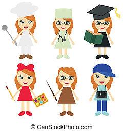 seis, meninas, de, diferente, profissões