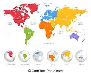 seis, mundo, dividido, mapa, continents.