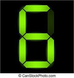 seis, número, digital