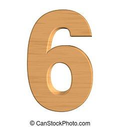 seis, número, isolado, madeira, fundo, novo, branca