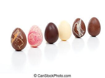 seis, ovos páscoa, angled, branco