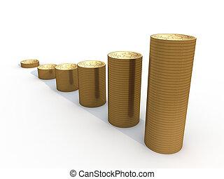seis, pilhas, de, euro, moedas, branco, fundo