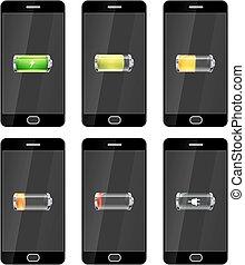 seis, pretas, smartphones, com, lustroso, baterias, ícones,...