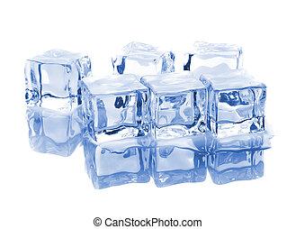 seis, reflexão, cubos gelo