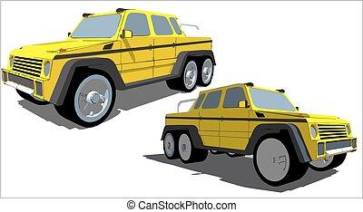 seis, rodas, estrada, caminhão