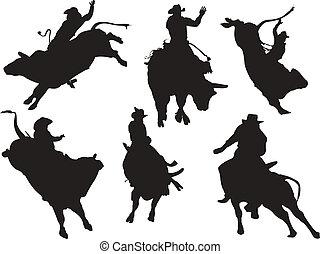 seis, rodeo, silhouettes., vetorial, ilustração