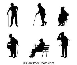 seis, silhuetas, de, pessoas velhas