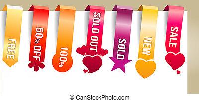 seis, vertical, cor, texto, etiquetas, promoção