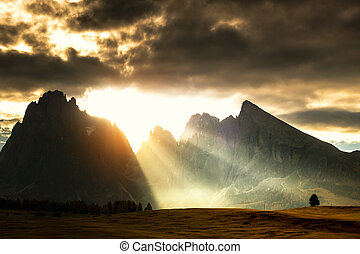 Seiser Alm with Langkofel Group after sunrise, South Tyrol,...