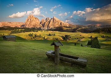 Seiser Alm with Langkofel Group before sunset, South Tyrol, ...