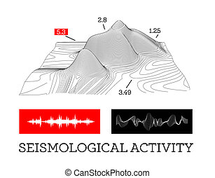 Seismic activity infographics illustration with sound waves...