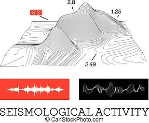 Seismic activity infographics vector illustration with sound waves, graphs and topological relief