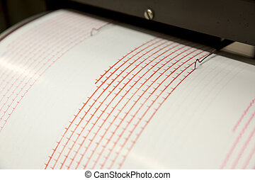 Seismograph recording earthquake - Seismograph records an ...