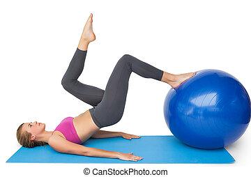 seite, anfall, ansicht, kugel, trainieren, frau, fitness
