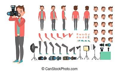 seite, pictures., schöpfung, hinterer blick, fotograf, set., zeichen, freigestellt, gestures., posen, accessoirs, vector., wohnung, voll, abbildung, gefuehle, karikatur, mann, nehmen, gesicht, länge, belebt, front