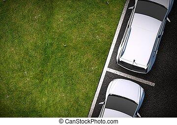 seite, straße, parken