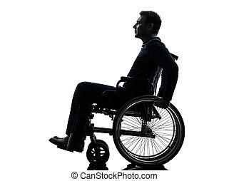 seitenansicht, ernst, behindertes, mann, in, rollstuhl, silhouette