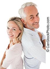 seitenansicht, porträt, von, glücklich, fälliges ehepaar