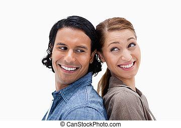 seitenansicht, von, frohes ehepaar, stehende , zurück unterstützen