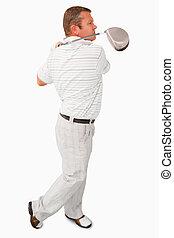 seitenansicht, von, golfspieler