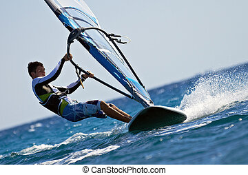 seitenansicht, von, junger, windsurfer