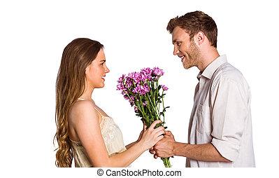 seitenansicht, von, paar, halten blüten