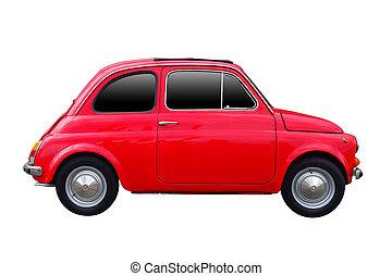seitenansicht, von, rotes , jahrgangsauto, freigestellt