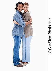 seitenansicht, von, umarmen, frohes ehepaar