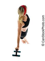 seitlich, kern, stärke, abbildung, von, schieben, ups, auf, fitness, kern, training, kugel, mit, hochdrücken, stäbe, per, attraktive, mittleres alter, tauglichkeitsausbilder, lehrer, frau, trainieren, und, dehnen