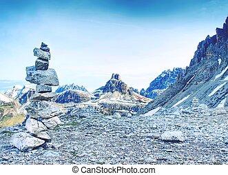 seixos, pedras, cime, di, pyramid., lavaredo, tre, cascalho, alpino
