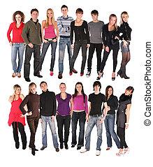 seize, jeunes, groupe