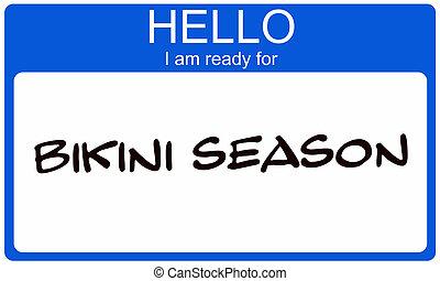 seizoen, bikini, nametag
