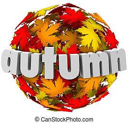 seizoen, bladeren, autum, bol, kleuren, het veranderen,...