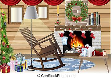 seizoen, kunst, kerstmis, klem