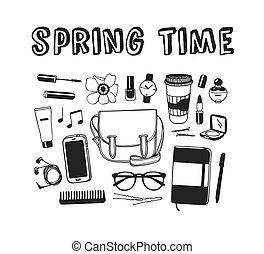 seizoen, mode, daadwerkelijk, getrokken, lente, werken, doddle, illustratie, hand, achtergrond., vector, artistiek, inkt, wear., kunst, objects., creatief, tekening