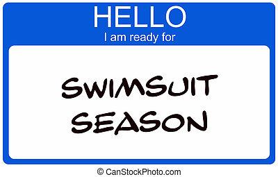 seizoen, nametag, badpak