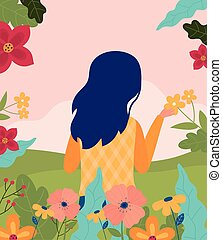 seizoen, natuur, bloemen, lente, gras, scène, vrouw, hallo