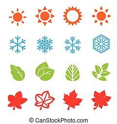 seizoen, pictogram, set