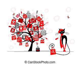 seizoen, verkoop, boompje, mode, kat, met, winkeltas, voor, jouw, ontwerp