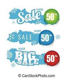 seizoenen, blauwe , set, winter, korting, marketing, etiketten, verkoop, teksten, vector, achtergrond., achtergrond, bevordering, spandoek, witte , illustration.