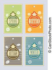 seizoenen, etiketten, detailhandel