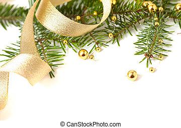 seizoenen, gouden, kralen, vrijstaand, cristmas,...