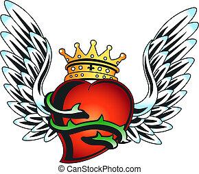 seizoenen, hart, embleem, groet, koninklijk