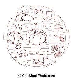seizoenen, herfst, anders, geschikte, illustratie, symbolen, vector, circle.